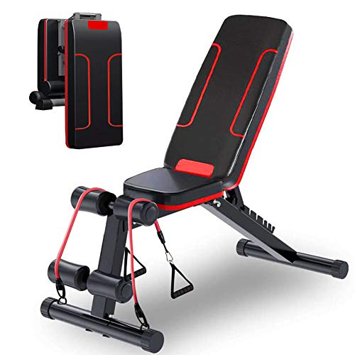 HOLATO Adjustable Weight Bench for Full Body Workout ,Foldable Workout Bench Home Gym Weightlifting and Strength Training,Multi-Purpose Sit up Bench Portable Exercise Bench (red) (red)