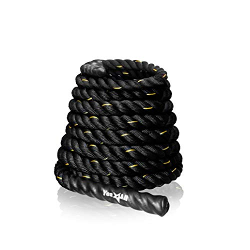 Yes4All Battle Rope 1.5/2 Inch Diameter Poly Dacron 30, 40, 50 Ft Length Workout Rope (WE3N)