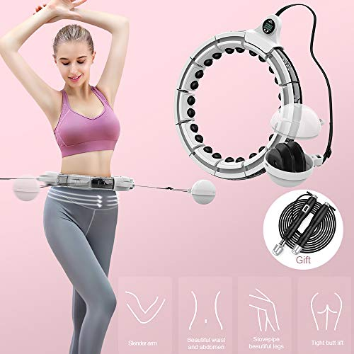 Rocketek Weighted Hula Hoop, Smart Hula Hoop with Intelligent Record Data and 360 Degree Massage, Exercise Fitness Hula Hoops Workout 16 Detachable Sections for Adults and Kids