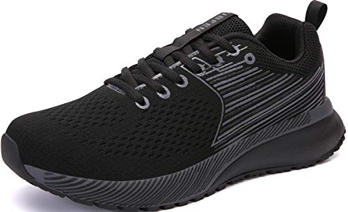 UBFEN Mens Womens Sports Running Shoes Jogging Walking Fitness Athletic Trainers Fashion Sneakers 7.5 Women/6.5 Men Black Grey