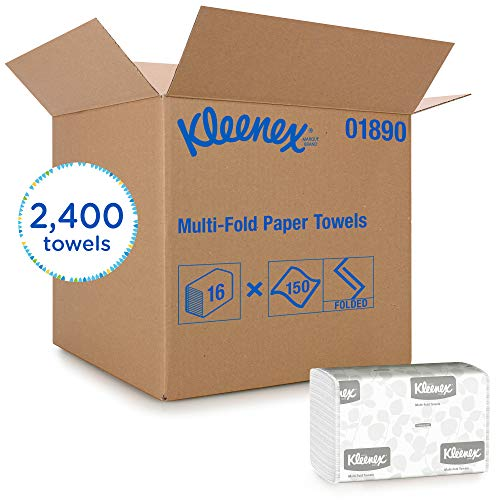 Kleenex Multifold Paper Towels (01890), White, 16 Packs / Case, 150 Tri Fold Paper Towels / Pack, 2,400 Towels / Case