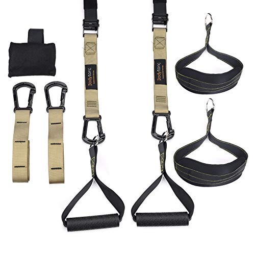 Bodytorc Suspension Trainer, Bodyweight Training Straps for Full Body Workouts at Home, Includes Door Anchor, Extension Arms and Advanced Foot Straps.