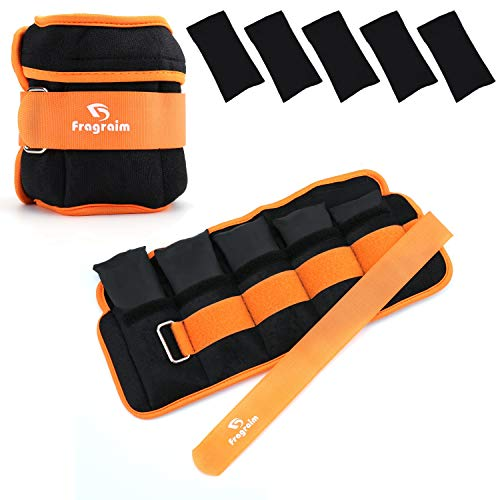 Fragraim Adjustable Ankle Weights 1-8 LBS Pair with Removable Weight for Jogging, Gymnastics, Aerobics, Physical Therapy, Resistance Training|Each 0.8-4 lbs, Total 8LBS, Orange