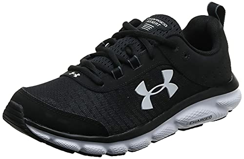 Under Armour mens Charged Assert 8 Running Shoe, Black/White, 10.5 X-Wide US