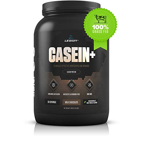 Legion Casein+ Chocolate Pure Micellar Casein Protein Powder- Non-GMO Grass Fed Cow Milk, Natural Flavors & Stevia, Low Carb, Keto Friendly - Best Pre Sleep (PM) Slow Release Muscle Recovery Drink 2lb