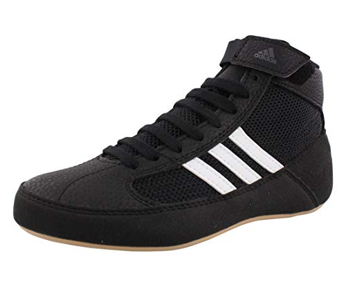 adidas Men's HVC Wrestling Shoe, Black/White/Iron Metallic, 11.5