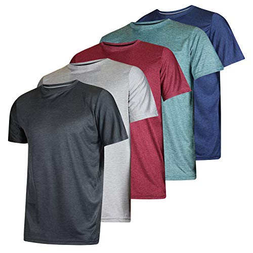 Men's Quick Dry Fit Dri-Fit Short Sleeve Active Wear Training Athletic Essentials Crew T-Shirt Fitness Gym Workout Casual Undershirt Top - 5 Pack,Set 1-L