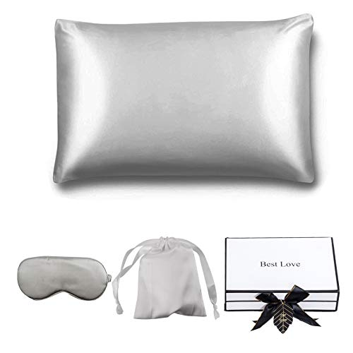 JODELA 100% Pure Mulberry Silk Pillowcase for Hair and Skin, Queen Size, The Gift Set Comes with an Eye Mask and Silk Gift Bag, 19 Momme Silk 600 Thread Count (Gray)