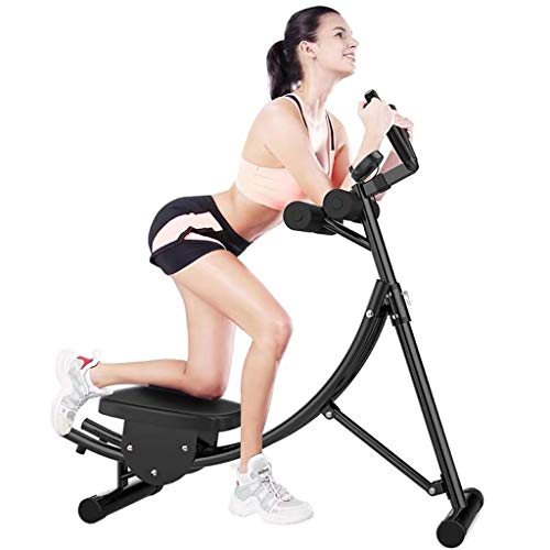Ab Vertical Core Toner Ab Trainer Workout Machine Fitness Equipment Abdominal Crunch Coaster Home Gym Height Adjustable with Counter (Color : Black)
