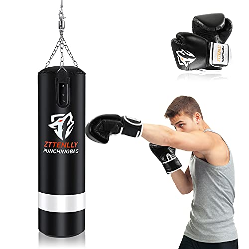 ZTTENLLY Punching Bag with Gloves - UNFILLED Hanging Punching Bag Heavy Bag - Adjustable Weight - Premium Pu Leather - Boxing Bag for Adults Kids Great for Kickboxing Muay Thai MMA