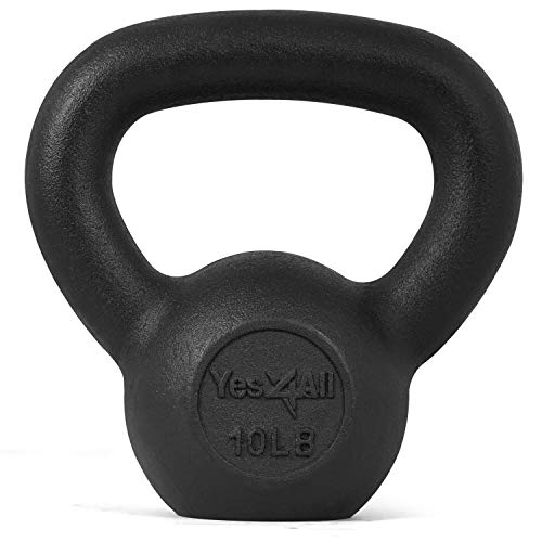 Yes4All Solid Cast Iron Kettlebell Weights Set – Great for Full Body Workout and Strength Training – Kettlebell 10 lbs (Black)