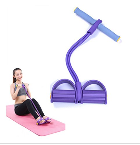 Resistance Training Bands, Elastic Pull Rope Pull up Body Trimmer Exercise Pedal Exerciser Body Fitness Building Yoga Trimmer Exercise Equipment Multifunction Rope (Purple)