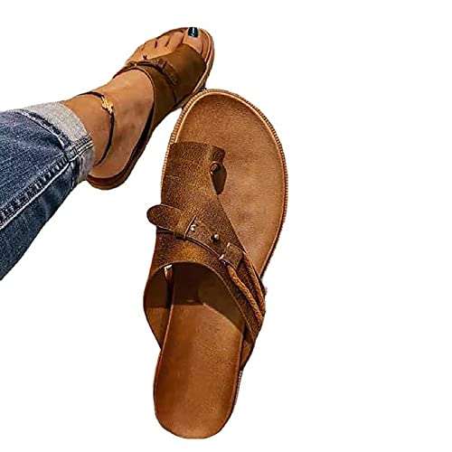 Mimacoo Womens Summer Orthopedic Sandals Toe Separation Shoes Bunion Correction Flat Slipper Casual Sandals Brown