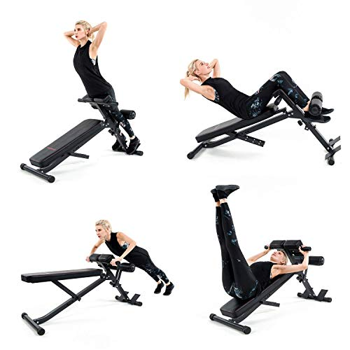 Vanswe Adjustable Ab Bench Multi-Workout Hyper Back Extension Abdominal Sit Up Bench Weight Bench with Flat/Decline/Sit Up for Commercial and Home Use (Black)