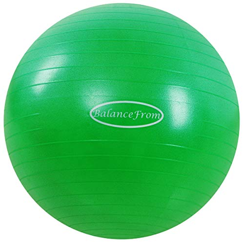 BalanceFrom Anti-Burst and Slip Resistant Exercise Ball Yoga Ball Fitness Ball Birthing Ball with Quick Pump, 2,000-Pound Capacity (78-85cm, XXL, Green)