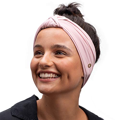 BLOM Original Multi Style Headband. Women Yoga Fashion Workout Running Athletic Travel. Wear Wide Turban Thick Knotted. Comfort Style Versatility. Pink Nude