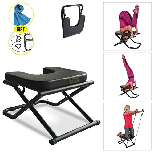 Apelila Yoga Chair Inversion Bench - Stand Yoga Chair Headstander for House, Gym Build Up Body Ideal Chair for Shoulderstand, Practice Head Stand, Headstand Bench w/Resistance Bands and Cooling Towel