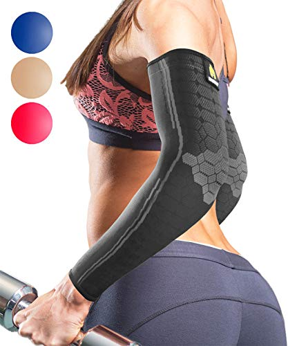 Sparthos Arm Compression Sleeves - Arms Brace for Recovery, Support for Athletic Sports Running Tennis Baseball Lifting Volleyball Shooting Weightlifting Golf - for Men and Women (Black-M)