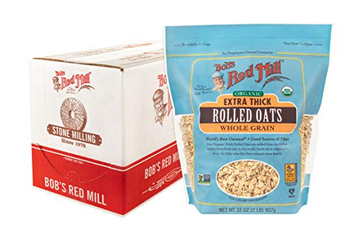 Bob's Red Mill Organic Extra Thick Rolled Oats, 32-ounce (Pack of 4)