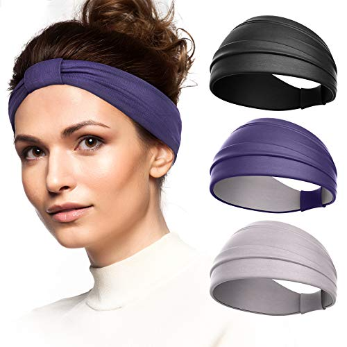 Vinsguir 3 Pack Knotted Sweat Bands, Sports Headbands for Women Working Out, Running Headband for Girls, Non Slip Hair Band Head Wraps Fashion Turbans for Gym Exercise Yoga