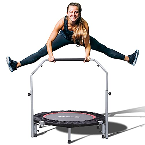 BCAN 40' Foldable Mini Trampoline, Fitness Rebounder with Adjustable Foam Handle, Exercise Trampoline for Adults Indoor/Garden Workout Max Load 330lbs