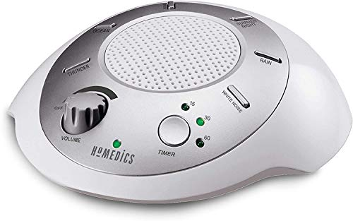 HoMedics White Noise Sound Machine | Portable Sleep Therapy for Home, Office, Baby & Travel | 6 Relaxing & Soothing Nature Sounds, Battery or Adapter Charging Options, Auto-Off Timer Sound Spa