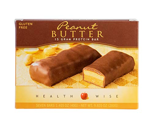 Healthwise - High Protein Diet Bar - Peanut Butter - 15g Protein- For Any Diet- Hunger Control and Appetite Suppressant - Low Calorie - Gluten Free (7/Box)