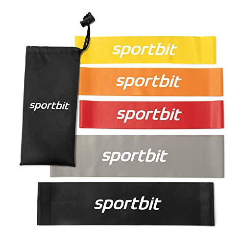 Sportbit Exercise Resistance Bands Set of 5 + Bag + eBook   Best Elastic Resistance Loop Bands for Stretching, Yoga, Physical Therapy, Workout, Home Fitness and Sport