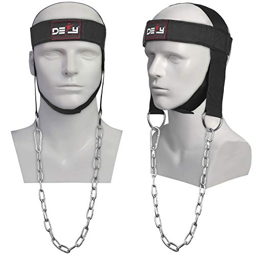 DEFY Head Harness Neck Support for Lifting Training -Ideal Head Harness for Men & Women with Heavy Duty D-Rings and Steel Chain- Comfort Fit Premium Stitching Neck Strap Long