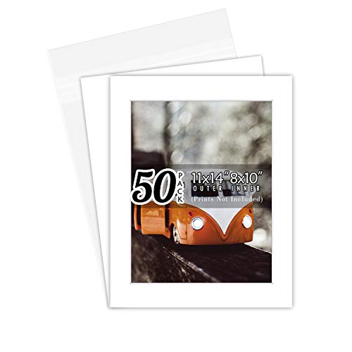 Golden State Art, Acid Free, Pack of 50 11x14 White Picture Mats Mattes with White Core Bevel Cut for 8x10 Photo + Backing + Bags