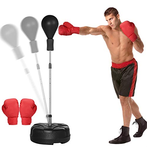 KINGSO Punching Bag with Stand for Adults Kids Boxing Set with Solid Ball Reflex Speed Bag Height Adjustable 51'-65' Free Standing Boxing Set for Home Gym Workout Fitness, Boxing Gloves Included