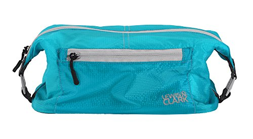 Lewis N Clark Electrolight Toiletry Kit for Travel, Gym, Bathroom, TSA Approved Waterproof Toiletry Bag with Hanging Straps and Non-Slip Bottom - Bright Blue