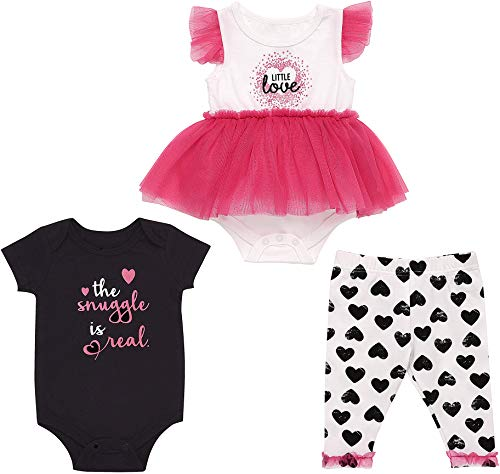 Mini B. by Baby Starters 3-Piece Layette Set with a Lap Shoulder Bodysuit, Skirted Bodysuit Dress and Leggings (Hot Pink/Hearts, 3-6M)