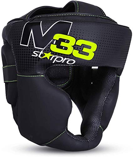 Starpro Boxing Headgear Muay Thai MMA Sparring Head Protection Kickboxing Helmet Protector Training Fighting (Black, X-Large)