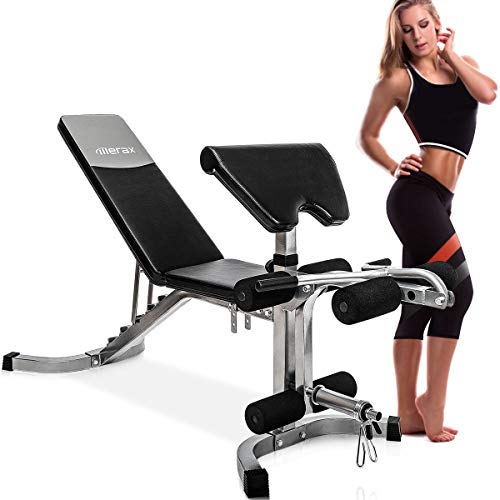 Merax Weight Bench with Leg Developer Incline Olympic Adjustable Utility Benches with Preacher Curl, 550 LBS Weight Capacity