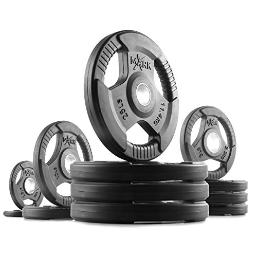 XMark TRI-Grip 145 lb Set Olympic Plates, One-Year Warranty, Olympic Weight Plates, Classic Design, Rubber Coated Olympic Weight Plate Set, Bumper Plates, Olympic Barbell Weight Set for Home