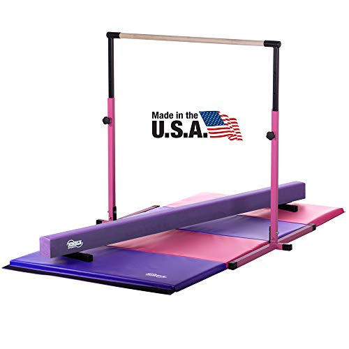 Nimble Sports Little Gym - Pink Adjustable Horizontal Bar - Purple Suede Low Balance Beam - Pink and Purple Gymnastics Folding Mat