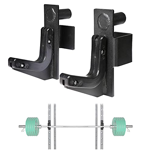 SYL Fitness J Hooks 2x2 Power Rack Attachments,Squat Rack Accessories Power Cage J Cups