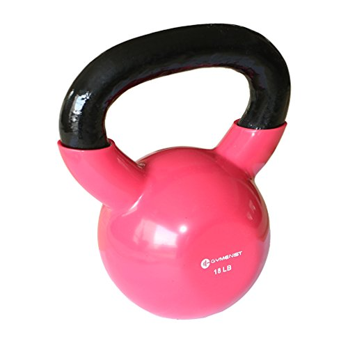 GYMENIST Iron Exercise Kettlebell, Vinyl Coated, Fitness Body Workout Equipment Kettle Bell, Choose Your Weight Size (18 LB-Pink)