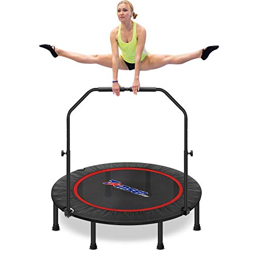 49'' Silent Foldable Trampoline, Exercise Fitness Trampoline with Higher 52' Adjustable Handrail Fitness Rebounder with Carry Bag Mini Trampoline for Kids Adults Indoor/Garden Workout Max Load 450lbs