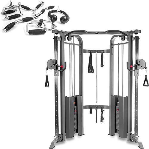 XMark Functional Trainer Cable Machine with Dual 200 lb Weight Stacks, 19 Adjustments, and an Upgraded Accessory Package