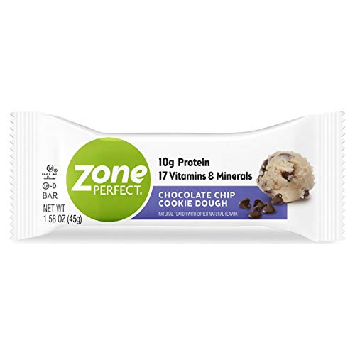 Zone Perfect Protein Bars, 10g of Protein, Nutrition Bars with Vitamins and Minerals, Great Taste Guaranteed, Chocolate Chip Cookie Dough, 20 Count (Pack of 2)