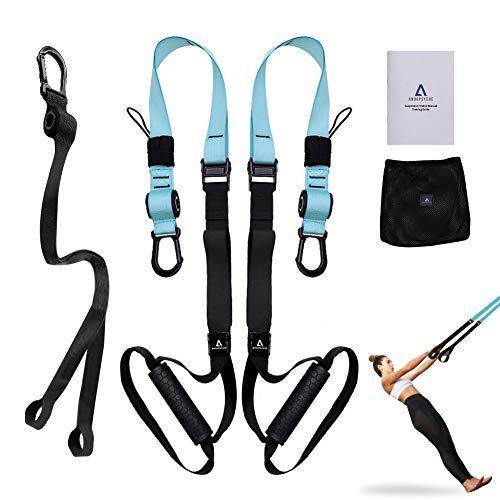 Anoopsyche Bodyweight Resistance Training Straps-Complete Home Gym Fitness Trainer Kit with Poster Guide for Full Body Workout, Fitness Training Straps for Home or Outdoor Professional Gyms