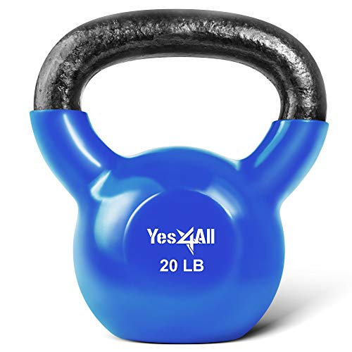 Yes4All Vinyl Coated Kettlebell Weights Set – Great for Full Body Workout and Strength Training – Vinyl Kettlebell 20 lbs