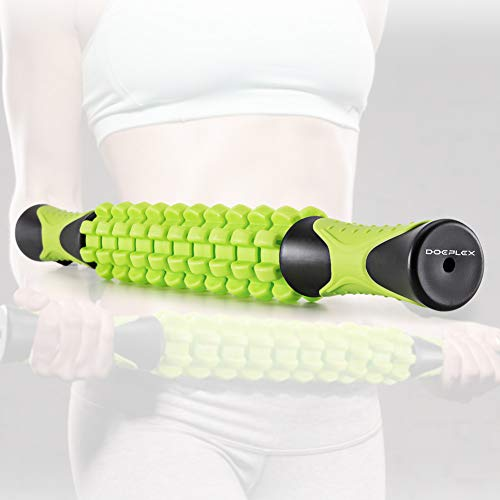 Doeplex Muscle Roller Massage Stick for Athletes, 17.5' Body Massager Soreness, Cramping Pain & Tightness Relief Helps Legs & Back Recovery Tools, Travel Size (Standard 17.5 inch)