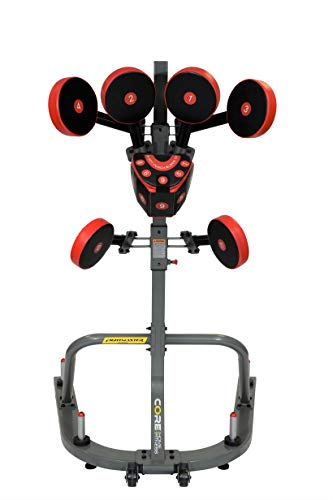 Core Home Fitness FightMaster Boxing Trainer Full Body Action System, Adjustable Punching Pads, Martial Arts, MMA, Karate, Muay Thai, Black and Red