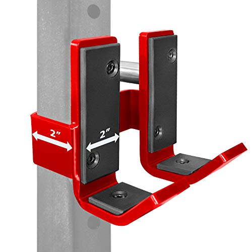 A2ZCARE Pair of Steel J-Hooks for 2x2 inches Square Tubes Power Rack - J-Cups/Barbell Holder for Racks for Home Gym, Weightlifting and Strength Training (2' x 2' (Black and red))