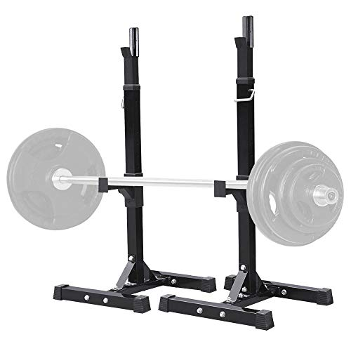 Yaheetech Pair of Adjustable Squat Rack Standard Solid Steel Squat Stands Barbell Free-Press Bench Home Gym Portable Dumbbell Racks Stands 44-70 Inch