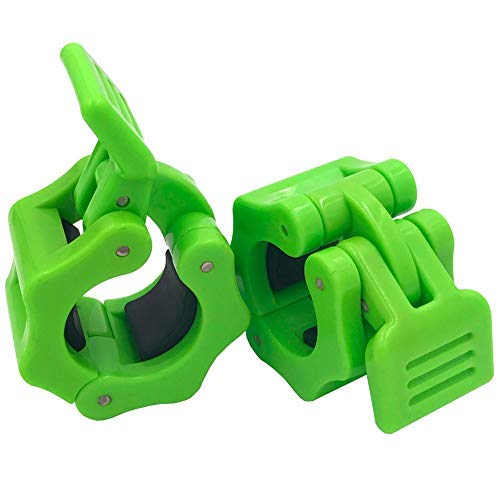 Disens 1 Inch Gym Barbell Clamps Quick Release Barbell Collar Clips for Bodybuilding,Weightlifting,Fitness Training (25mm Light Green)
