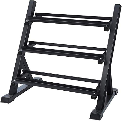 AKYEN 3 Tier Dumbbell Rack Stand Only for Home Gym, Weight Rack for Dumbbells (1100 Pounds Weight Capacity, 2020 Version)